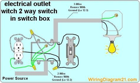 2 Way Switch With Electrical Outlet Wiring Diagram How To Wire Outlet With Light Switch Light Switch Wiring Outlet Wiring Electrical Wiring