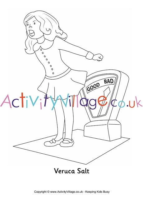 Veruca Salt Colouring Page Charlie Chocolate Factory Chocolate
