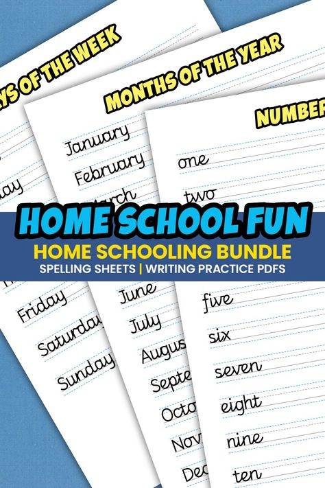 Home Schooling Spelling Sheets |Writing Practice PDFs (1016764) | Educational | Design Bundles