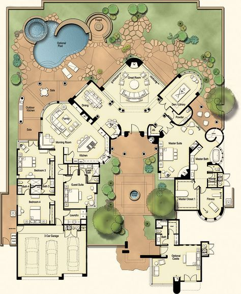 Castillo: A grand desert Residence with no detail overlooked, this plan features a commanding living room with a towering fireplace. It also boasts a circular bar and the master suite has its own fireplace and exercise room. Love this floor plan Dream House Plans, House Floor Plans, My Dream Home, Dream Houses, Large House Plans, Large Floor Plans, Layouts Casa, House Layouts, Courtyard House Plans