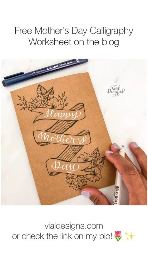 Learn how to letter Happy Mother's Day in calligraphy and do a DIY card #vialdesigns #mothersday #diycards #diymothersdaygifts