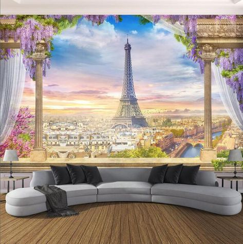 Balcony Overlooking Paris and Eiffel Tower Wallpaper Mural, Custom Sizes Available