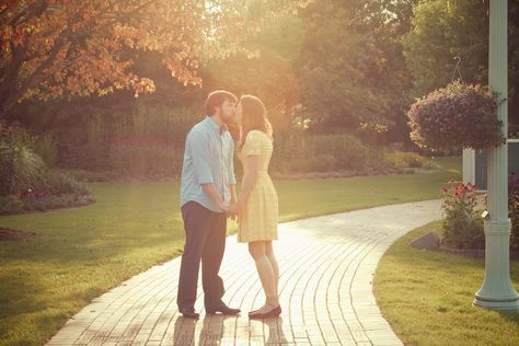 MSU Horticulture Gardens. Sunset, sun flare. MSU Engagement Session, East Lansing. Photos by Tammy Sue Allen Photography.