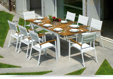 Tavolo Giardino Alluminio Allungabile.Tavolo Da Giardino In Teak Alluminio Ajaccio Allungabile 150 210 X