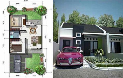 denah rumah type 36 luas tanah 72 | desain rumah, rumah