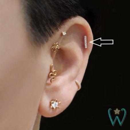 9ct Gold Upper Ear Genuine Gold 8mm Helix //Cartilage Earring-Stone Set Flower