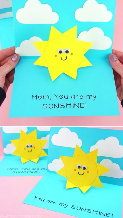 You are my Sunshine Card -Easy Pop Up Sun Card Template! Simple and easy You are my Sunshine Card for kids to make for Mother's Day, Father's Day or as a handmade greeting card for any time of year -Free template! #iheartcraftythings