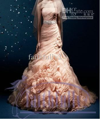 2013 Luxury Coral Strapless Flower Wedding Dress Pleated Crystal
