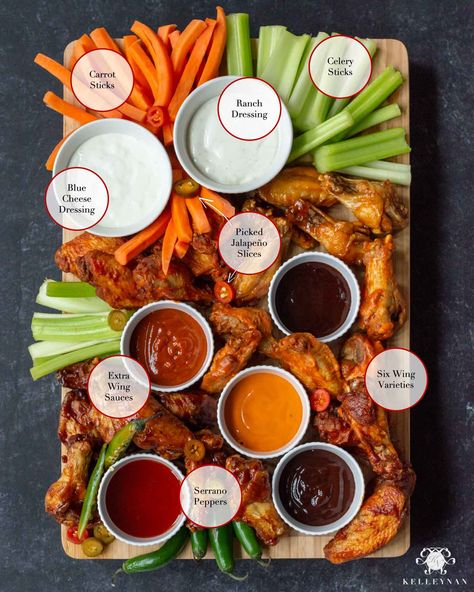 Superbowl Party Food Ideas - How to make a hot wing board for the Super Bowl. Read about the best Super bOwl snacks. Create a beautiful, crowd-pleasing hot wing board with these wings n' things for your next Super Bowl party menu or sports gathering! Superbowl Desserts, Football Party Foods, Tailgating Recipes, Tailgate Food, Football Food, Football Tailgate, Football Party Menu Ideas, Superbowl Party Food Ideas, Best Superbowl Snacks