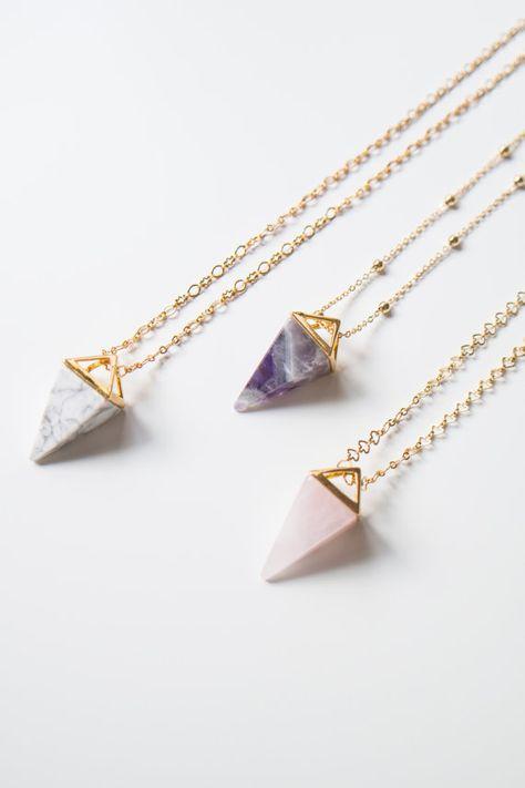Pyramide cristal collier Quartz Rose collier Aventurine par oliki