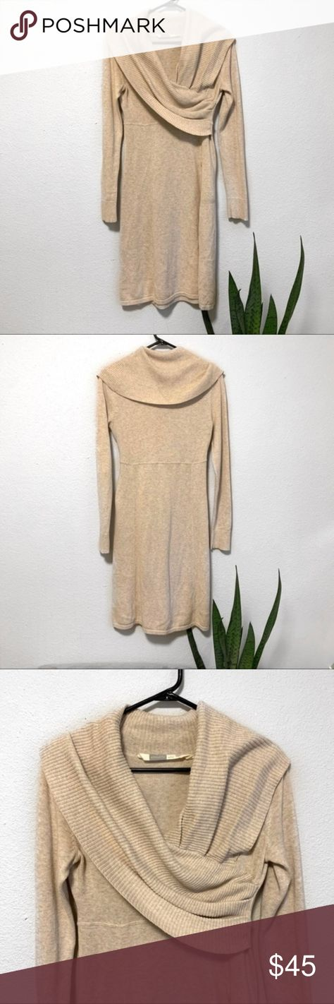 Athleta Sochi Cowl Neck Cream Sweater Dress Athleta  Sochi style cream colored cowl neck sweater dress  Zipper pocket detail  Cotton/ Wool blend  Size small  Excellent pre owned condition  Measurements:  Bust : 16 inches Length : 40 inches  Perfect for fall & winter with tights and boots!  Above knee length  H6 Athleta Dresses Mini