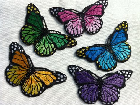 Iron On Patch Applique Butterfly Monarch select color