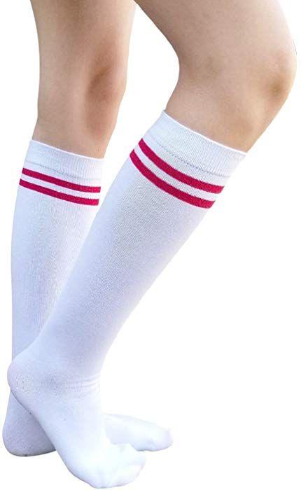 e21002358 AM Landen Women s Casual Stripe Knee High Socks Girls socks (2 Stripe-White  Red) at Amazon Women s Clothing store