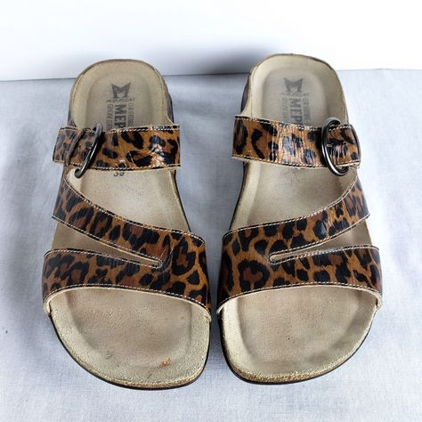c7be7773328b Mephisto Sandals Size 9 Euro 39 Womens Afida Brown Patent Leopard Slip On  Shoes