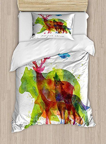 Twin Xl Extra Long Bedding Set Animal Duvet Cover Set Alaska Wild Animals Bears Wolfs Eagles Deers In Abstract Col Duvet Cover Sets Colored Shadow Duvet Covers