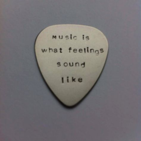Hand stamped personalised metal plectrum - music is what feelings sound like - Music Quote -Handstamped guitar pick - Brass - copper - steel