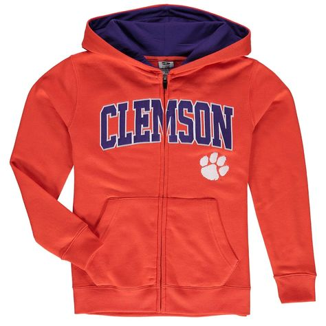 Youth Orange Clemson Tigers Applique Arch & Logo Full-Zip Hoodie, Boy's, Size: YTH Large, CLM Orange