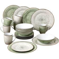 Kombiservice f/ür 4 Personen Steingut M/ÄSER 931212 Serie Bel Tempo 16-teiliges buntes Vintage Geschirr Set handbemaltes Keramik Service