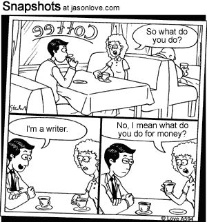 Cartoons about writing | Writing = actually writing a book.