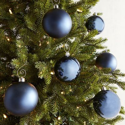3 Dark Blue Shatterproof Ornament Set With Images Shatterproof Ornaments Black Christmas Trees Blue Christmas Decor