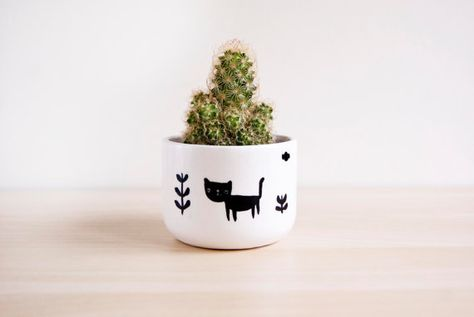 Ceramic cat plant pot Ceramic planter Succulent por noemarin
