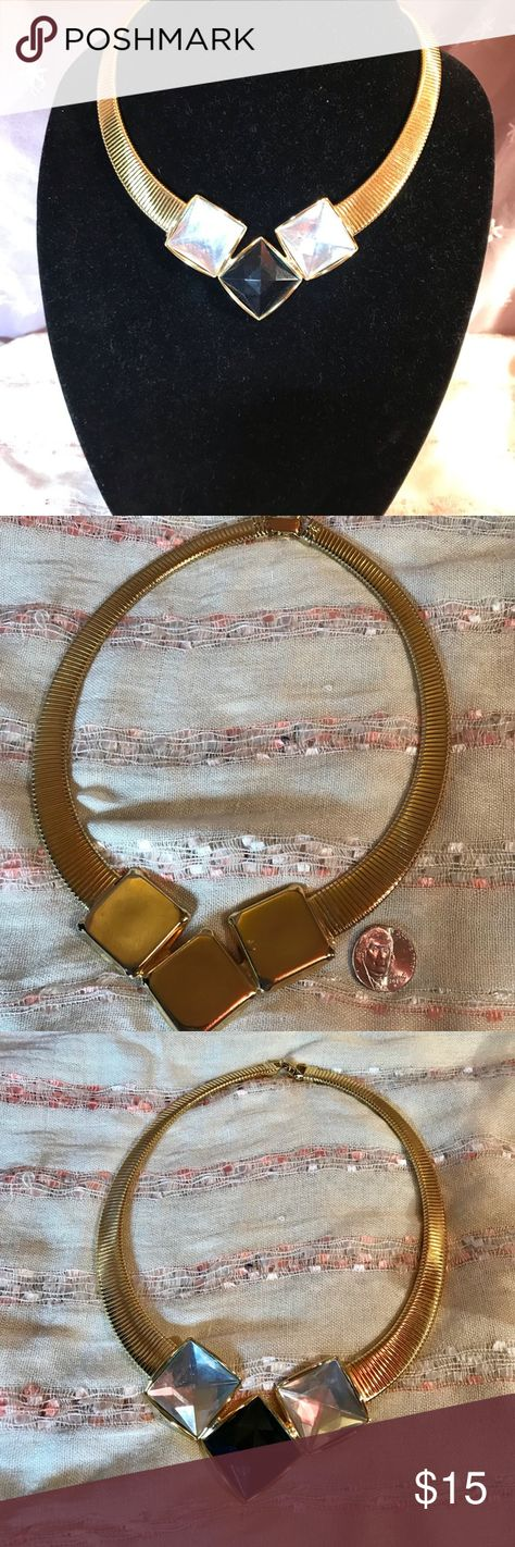 Colat necklace with black and clear foiled stones This is a vintage collar necklace, gold tone, with three black and clear square stones. The collar is 18 inches around. Professionally cleaned-no signs of wear that I could find. A real statement necklace! #91 Jewelry Necklaces