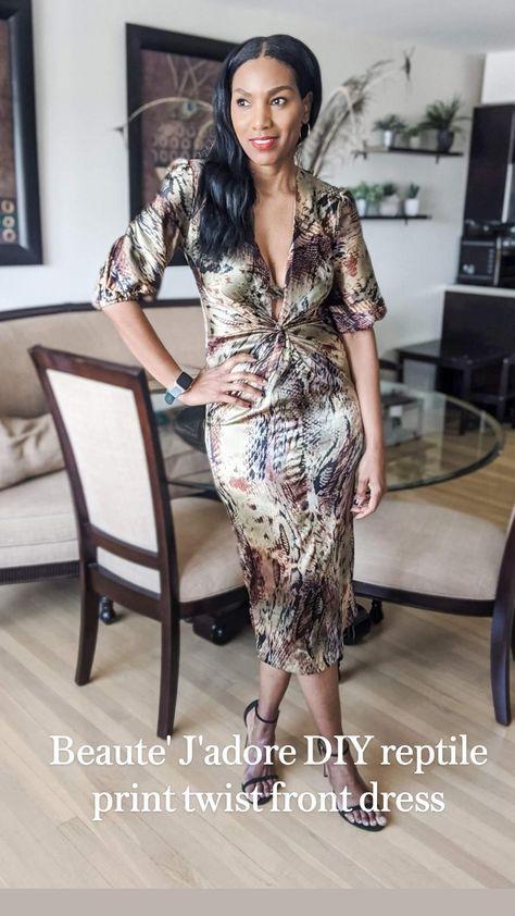 Beaute' J'adore DIY reptile print twist front dress