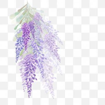 Purple Watercolor Flowers Clip Art Silver Violet Lavender Floral