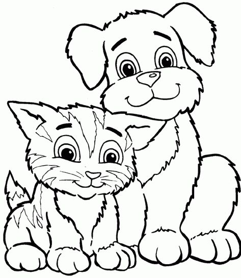 Color Dogs And Cats Cute Cat And Dog Coloring Pages Printable