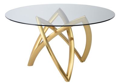Martina 60 Inch Dining Table In Brushed Gold Stainless Steel And