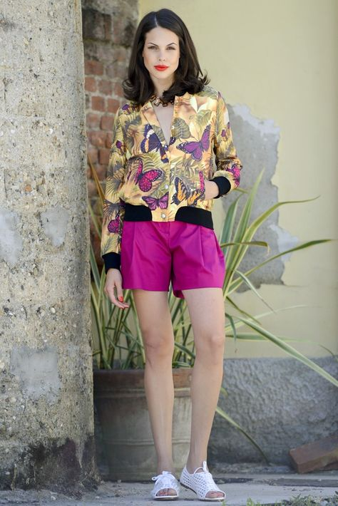 Resort 2014 Trend: Tropical Blaze (D.A.T.E's polyester bomber jacket with Genny's cotton shorts. Nunc shoes; CA necklace.)