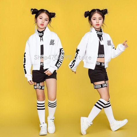 Children Hip Hop Dance Costumes Kids Street Dance Clothing White Jacket Black Vest Shorts Dancewear Stage Outfit as dancing clothing Children Hip Hop Dance Costumes Kids Street Dance Clothing White Jacket Black Vest Shorts Dancewear Stage Outfit as