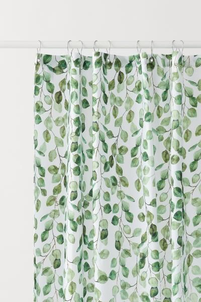 Patterned Shower Curtain - White/leaf-patterned - Home All | H&M US 1
