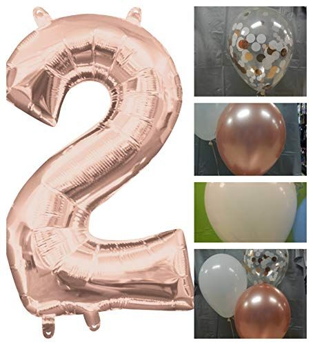 Rose Gold 2 Two Rose Gold Balloons Second Birthday Conf Https Www Amazon Com Dp B07p8g3c4y Ref C Gold Confetti Balloons Gold Balloons Rose Gold Balloons