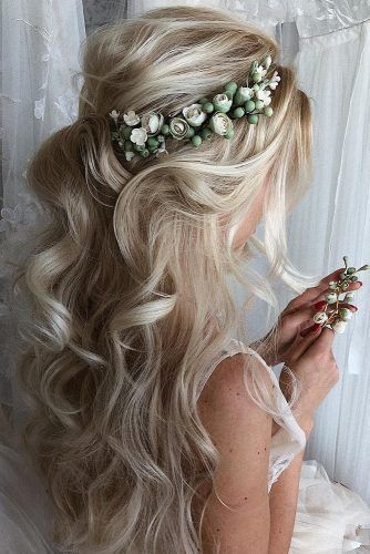 Wedding Hairstyles Up Half Up Down With Flowers Wedding Hairstyles For Long Hai Wedding Hairstyles Up H In 2020 Hair Styles Wedding Hair Up Elegant Wedding Hair