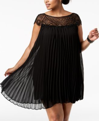 Xscape Plus Size Beaded & Pleated Shift Dress - Black 16W ...