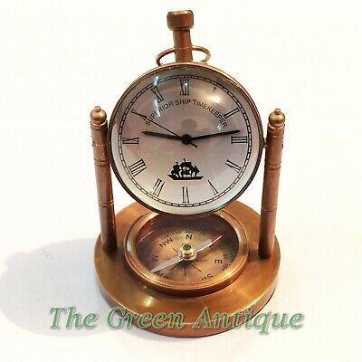 Details About Antique Brass Desk Clock Both Side Lens Base Compass