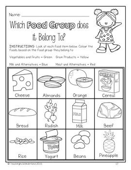 Grade 2 Healthy Eating With Canada S Food Guide Activity Packet