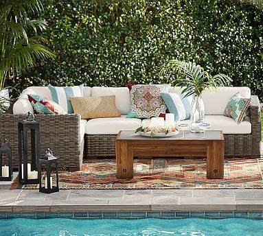 Huntington All Weather Wicker 5 Piece Square Arm Sectional