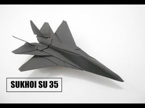 3 How To Make Paper Airplane Best Paper Plane Origami Jet Fighter Is Cool Sukhoi Su 35 Youtube Origami Jet Fighter Origami Paper Plane Origami Plane
