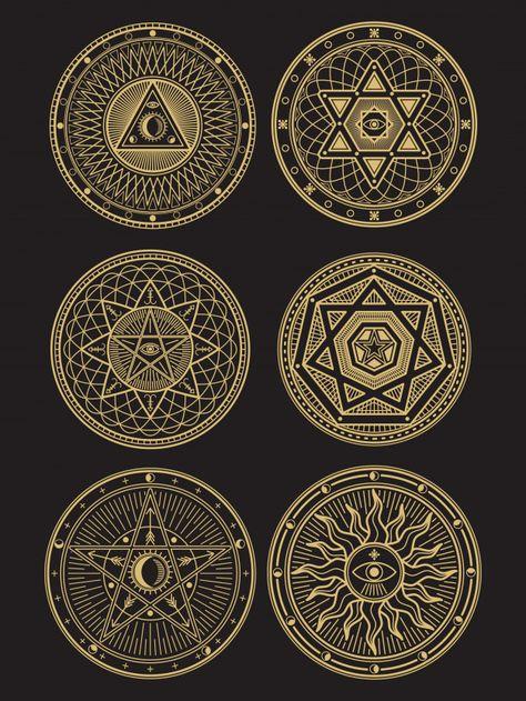 Golden occult, mystic, spiritual, esoteric symbols on black background. Mystic Symbols, Occult Symbols, Spiritual Symbols, Occult Art, Spiritual Drawings, Simbolos Tattoo, Dreieckiges Tattoos, Sacred Geometry Symbols, Sacred Geometry Tattoo