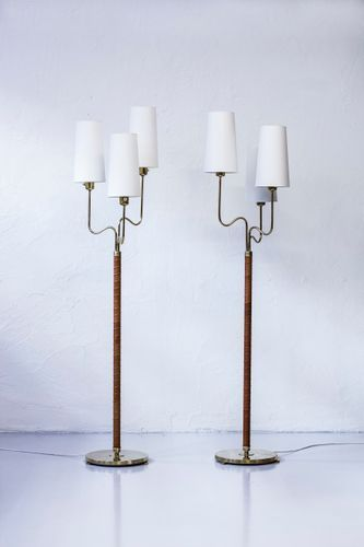 Designed In 1942 Made From Polished Brass With Leather Wrapped Stem New Lamp Shades With White Chintz Fabric Each Lamp Fitm Floor Lamp Lamp Lamps For Sale