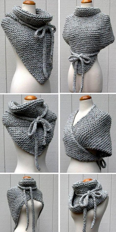 Strumpfband-Stich-Schal-Strickmuster im Schleifenstricken knit en español...  #Duplizität #knitenespañol