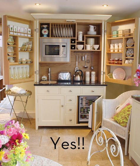 Kitchen in a cabinet; complete with microwave, faucet, dishes and fridge. Great for a garage apartment, or guest house, or hubby's office. He would never need to come out...