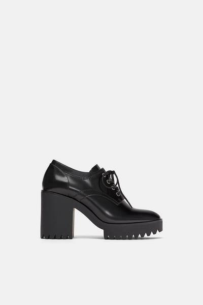 Image 2 De Derbys A Talons Et Semelles Track De Zara Oxford Shoes Heels Oxford Heels Shoes