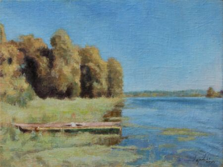 Boat By The River Original Landscape Oil Painting On Canvas By Artist Darko Topalski Oil Painting Landscape Landscape Paintings Painting