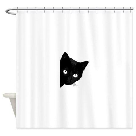 Black Cat Shower Curtain By Marilenz Cat Shower Curtain Fabric