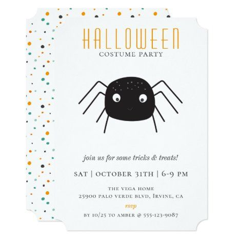 Halloween Costume Party Invitation 2020 Cute Spider Halloween Costume Party Invitation | Zazzle.in