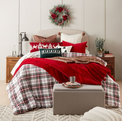 Holiday bedding//Bee & Willow™ Home Holiday Cream Tartan Bedding Collection ($130) King Duvet Cover Sets, Queen Comforter Sets, Christmas Bedding, Christmas Decor, Cozy Christmas, Christmas 2019, Christmas Ideas, Kids Outdoor Furniture, King Pillows