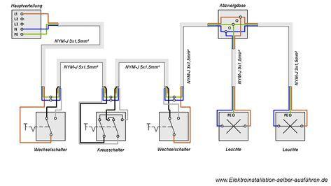 Hier Finden Sie Den Schaltplan Einer Kreuzschaltung Anleitung Mit Denen Sie Ihre Elektroinsta Elektroinstallation Elektroinstallation Selber Machen Schaltplan